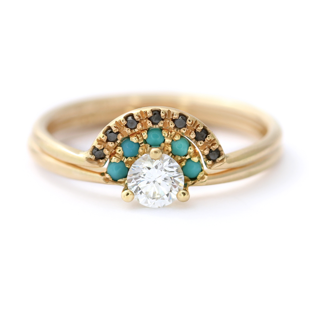 Diamond and Turquoise Ring Set - Crescent Diamond Ring – ARTEMER