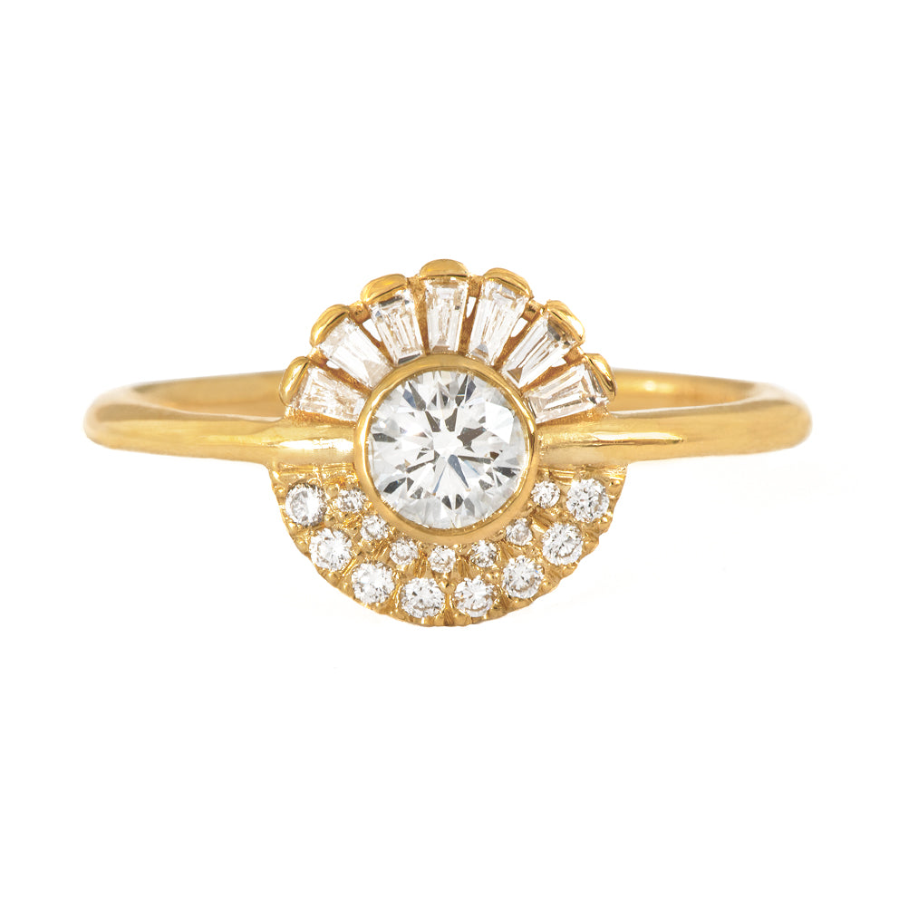 Round Diamond Cluster Engagement Ring Front View