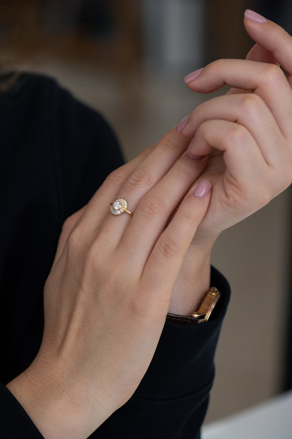 Round Diamond Cluster Engagement Ring on Hands
