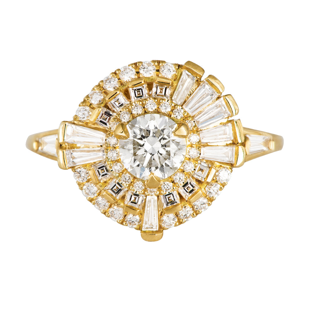 Round Diamond Cluster Ring with Asymmetric Frills