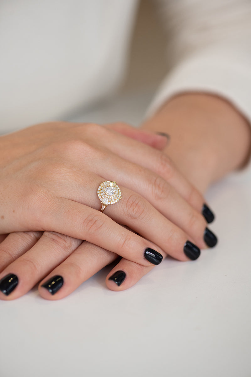 Round Diamond Cluster Ring with Asymmetric Frills on Hands