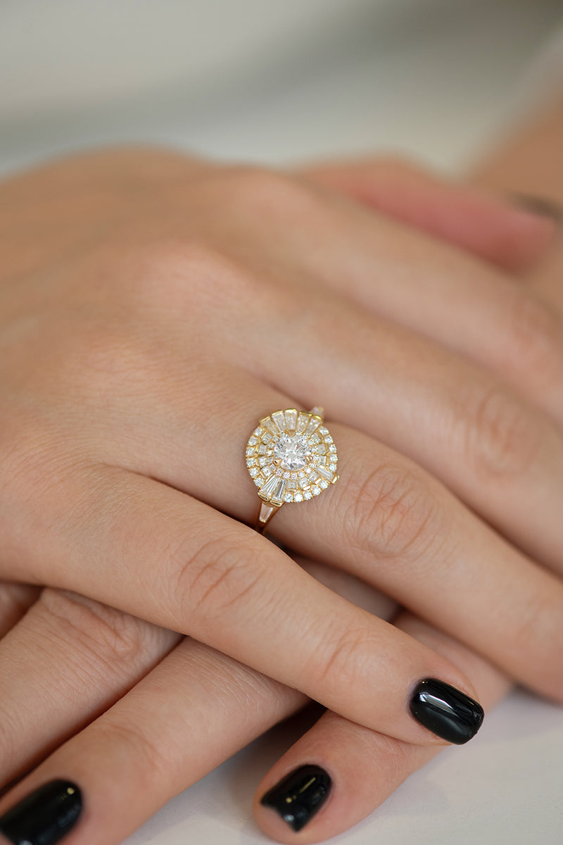 Round Diamond Cluster Ring with Asymmetric Frills Up Close on Hands