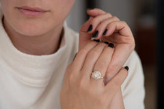 Round Diamond Cluster Ring with Asymmetric Frills Other Angle on Hand