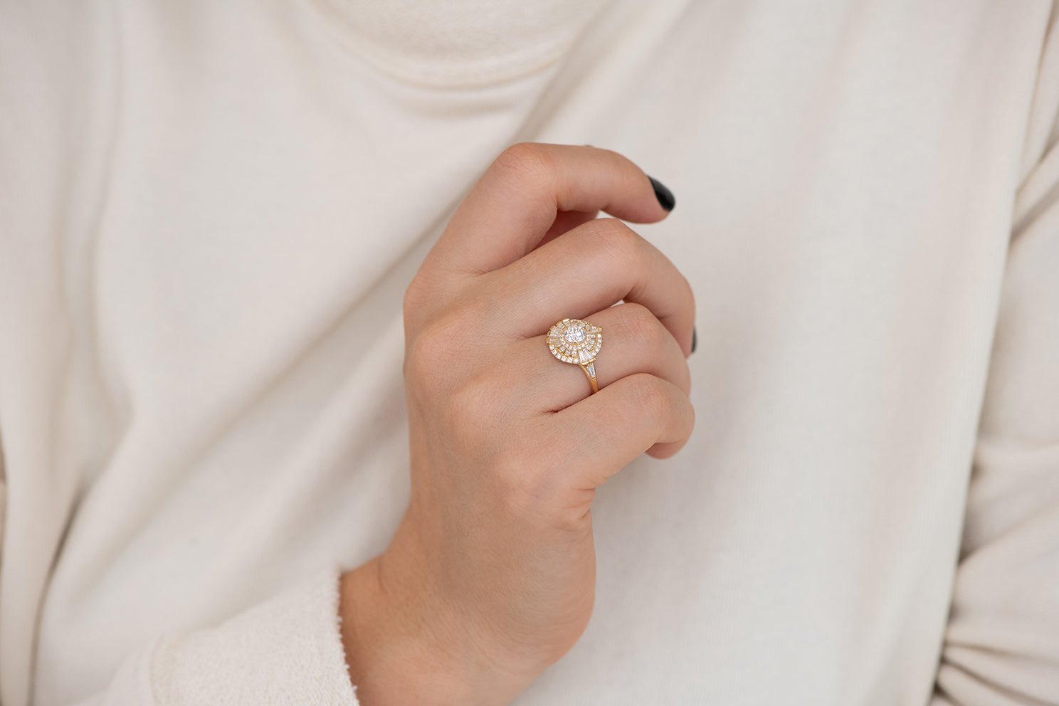 Round Diamond Cluster Ring with Asymmetric Frills Alternate Angle on Hand