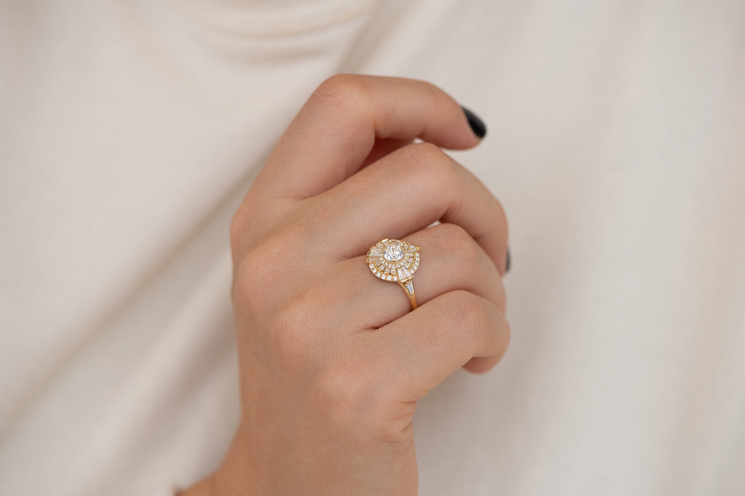 Round Diamond Cluster Ring with Asymmetric Frills Up Close on Hand