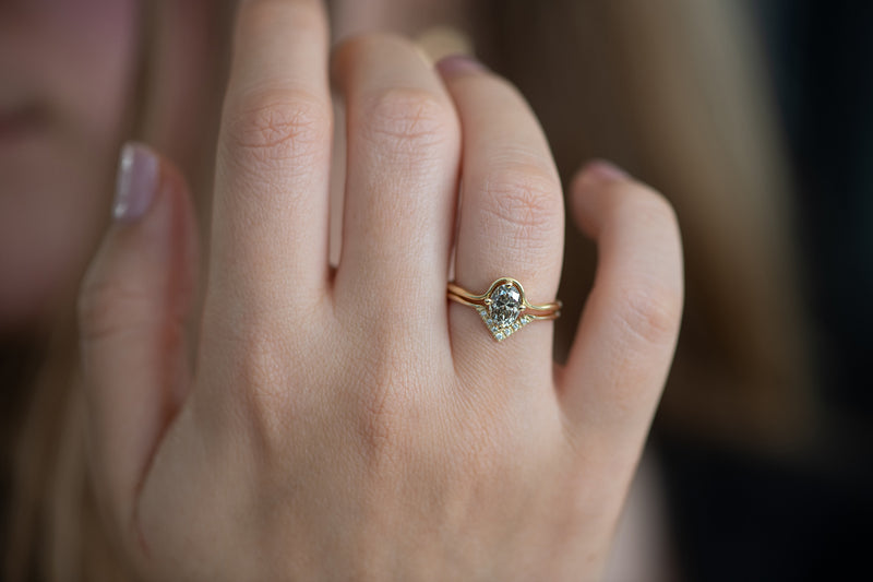 Salt and Pepper Diamond Engagement Ring in Set on Hand Frontal Shot