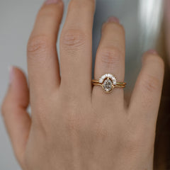 Salt and Pepper Diamond Engagement Ring in Baguette Set Up Close