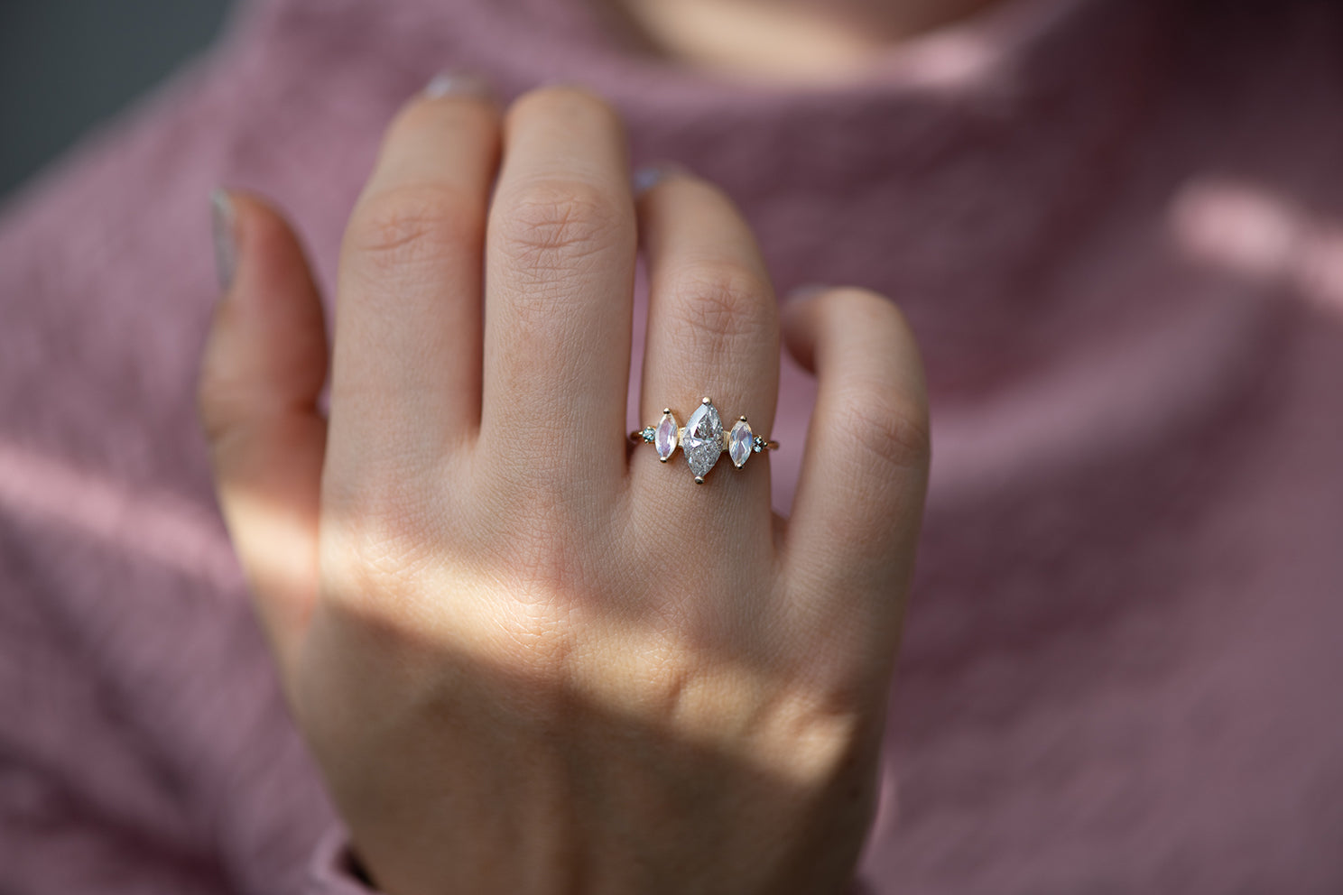 Salt and Pepper Marquise Diamond Ring on Hand Up Close Front Other Angle