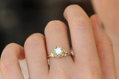 Three Stone Ring, Teal Engagement Ring On Hand