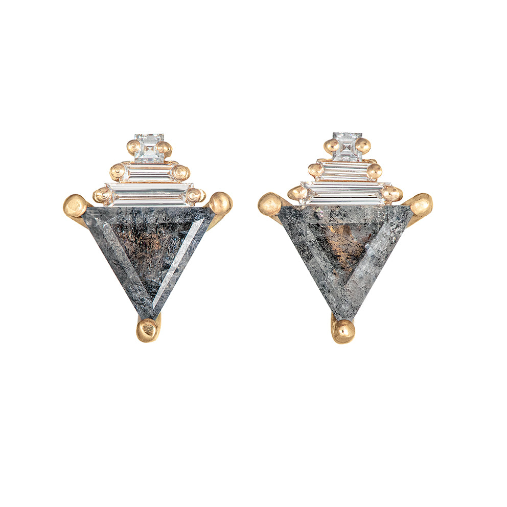 Salt and Pepper Diamond Earrings with Baguettes