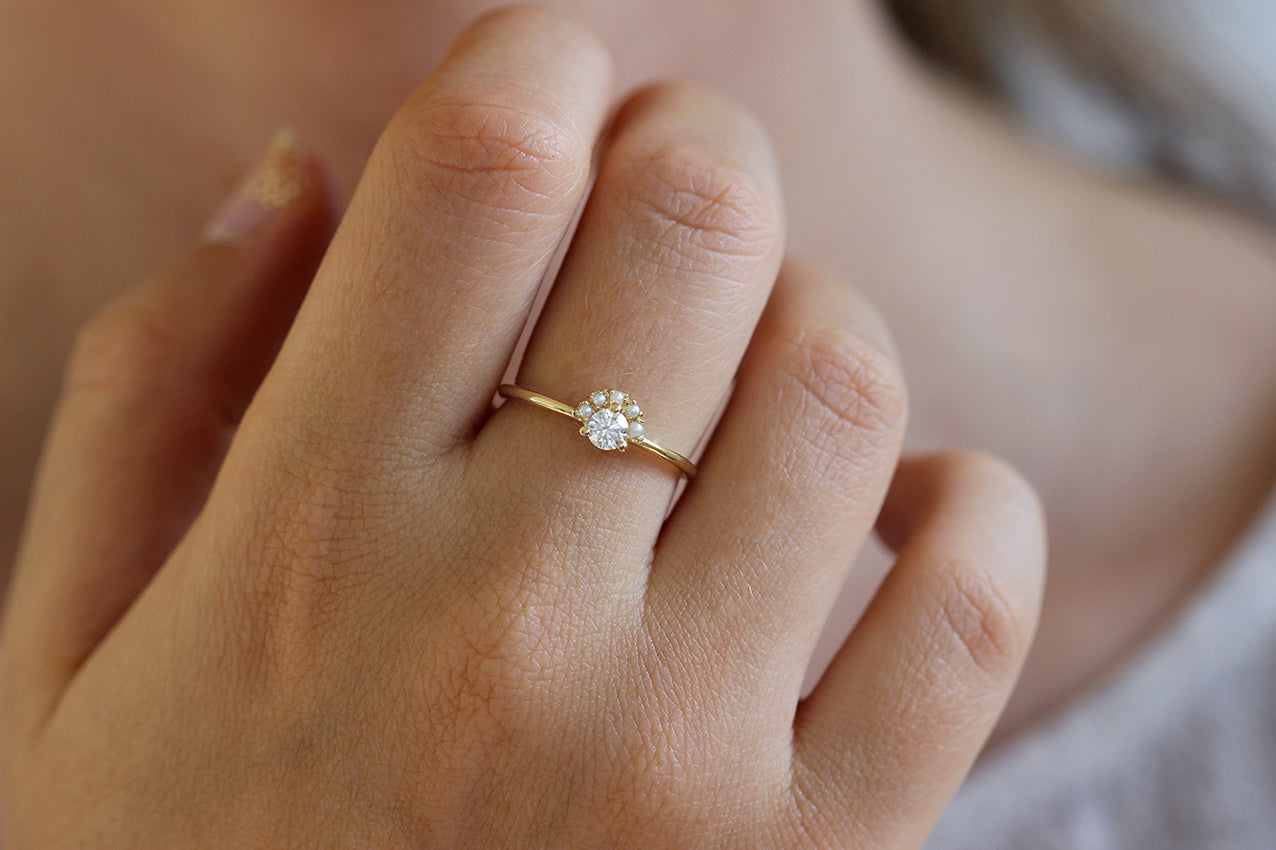 Seed Pearl Crown Ring on finger