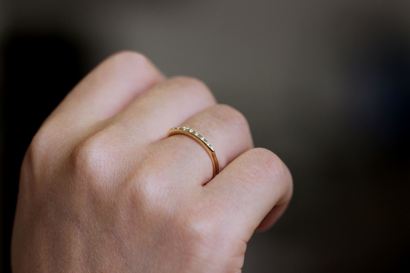Tiny Diamonds Ring on hand