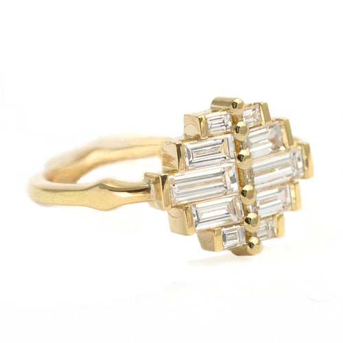 Side View Of Art Deco Baguette Cluster Engagement Ring