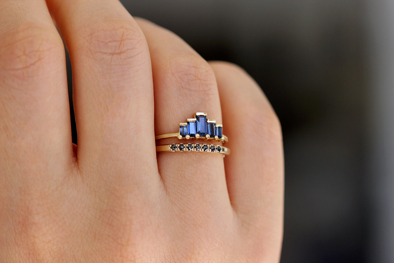 Side View Of Blue Sapphire Baguette Engagement Ring In A Set