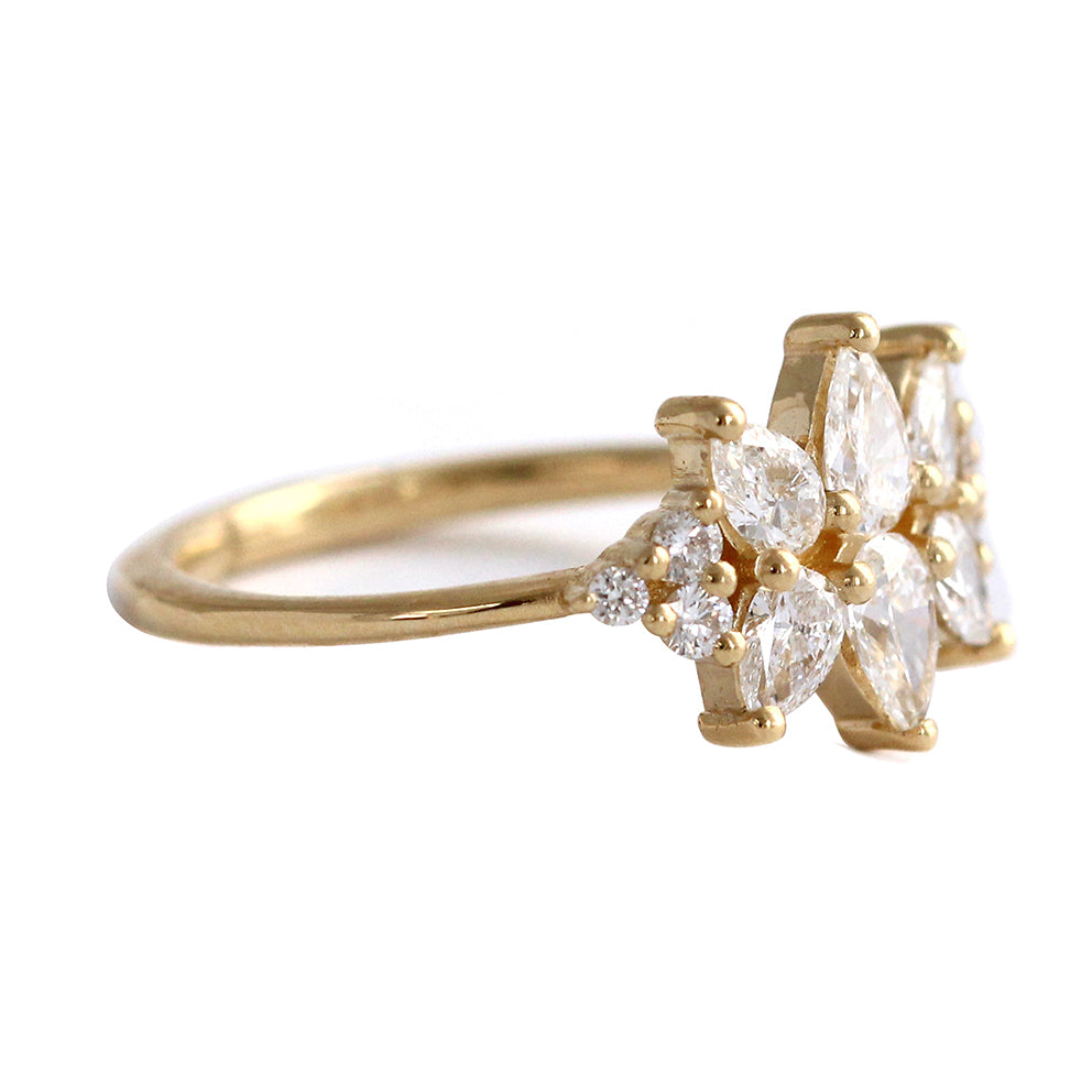 Side View Of Cluster Ring Set With Diamonds