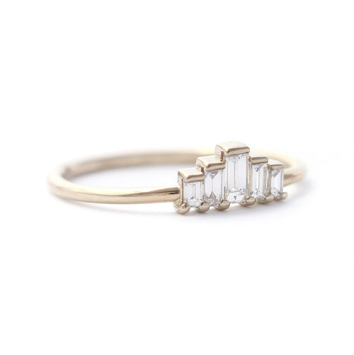 side view of Five Baguette Diamonds Engagement Ring