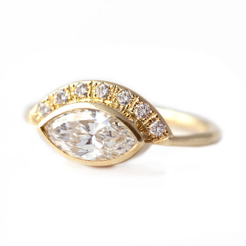Side View Of Marquise Diamond Crown Ring