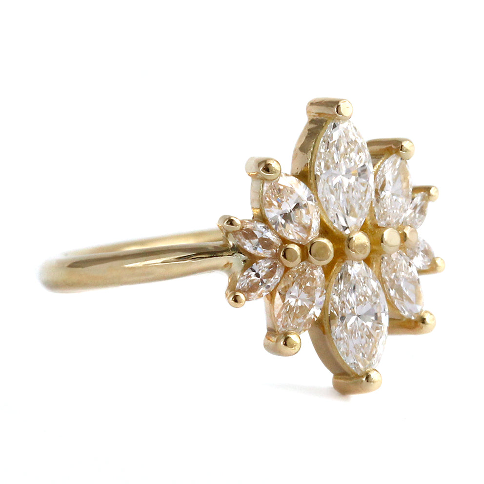 Side View Of Marquise cut Diamond Cluster Engagement Ring