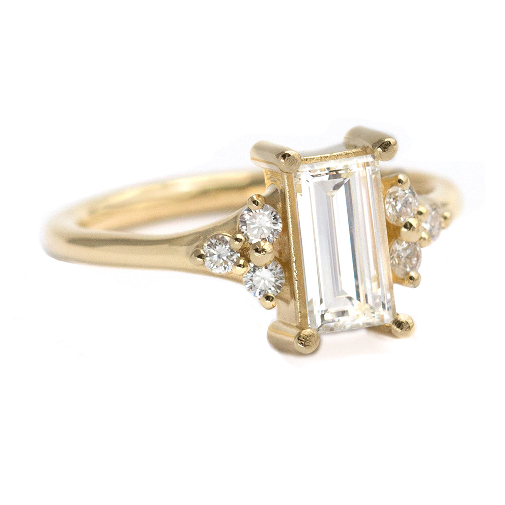 Side View Of One Carat Baguette Diamond Engagement Ring