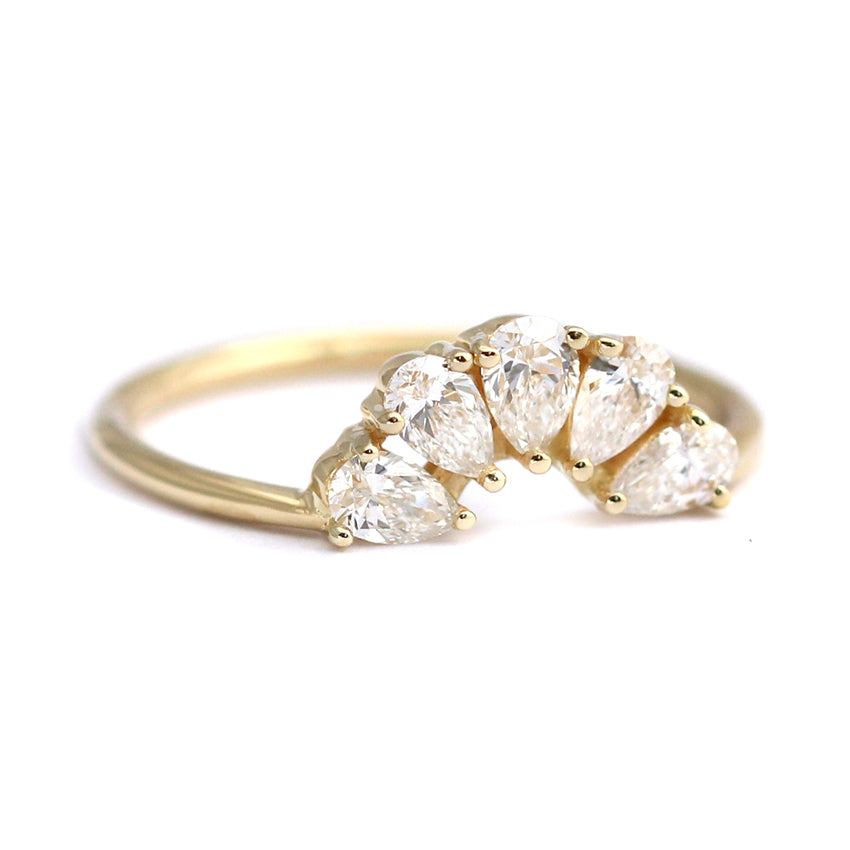 Side View Of Pear Cut Diamond Crown Ring