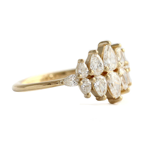Side View Of Pear Diamond Cluster Ring