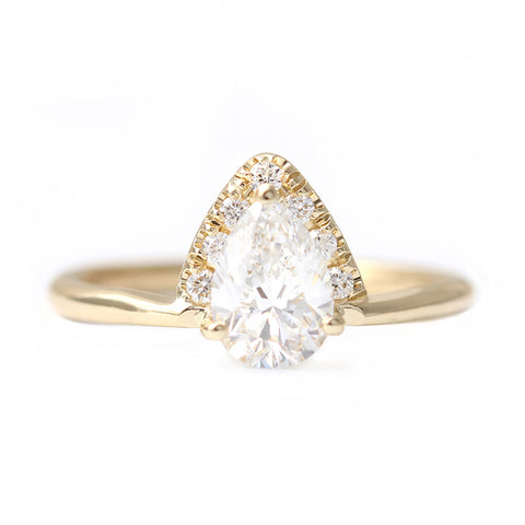 Pear Diamond Crown Ring