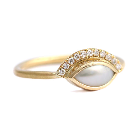 Side View Of Pearl Engagement Ring