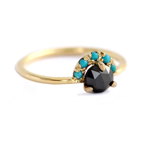 Side View Of Rose Cut Black Diamond Ring