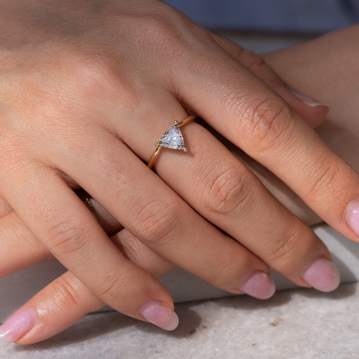 Solitaire Engagement Ring with Salt and Pepper Triangle Diamond - OOAK