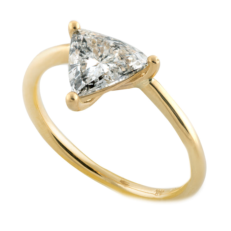 Solitaire Engagement Ring with Salt and Pepper Triangle Diamond - side view