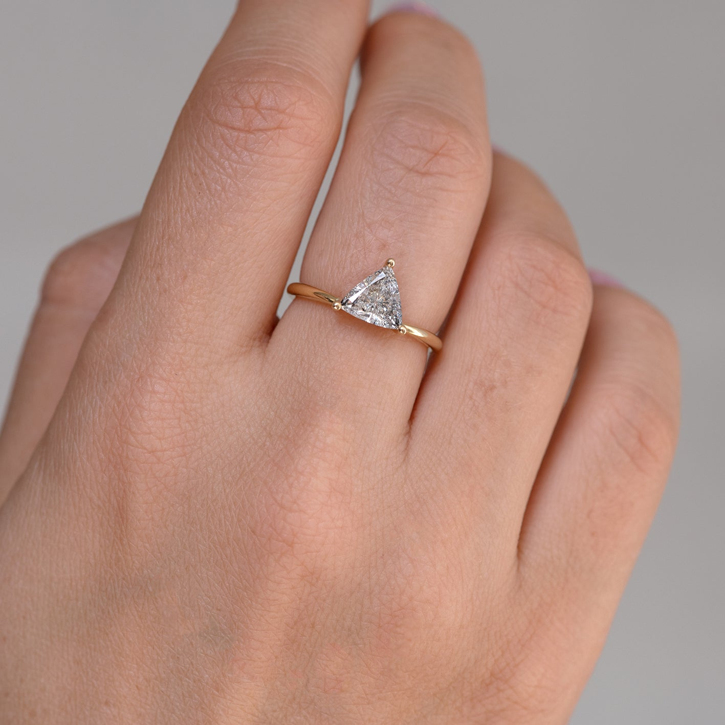 Solitaire Engagement Ring with Salt and Pepper Triangle Diamond close up