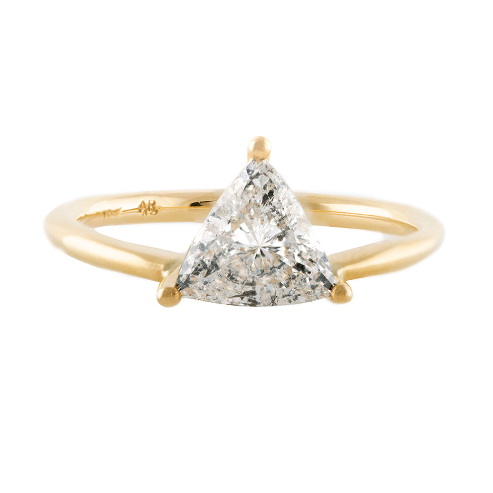 Solitaire Engagement Ring with Salt and Pepper Triangle Diamond