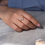 Solitaire Engagement Ring with Salt and Pepper Triangle Diamond on a model