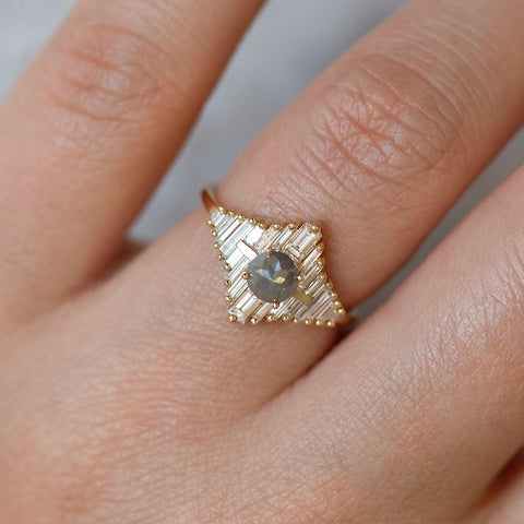 Star Engagement Ring with Baguette and Rose Cut Diamonds on Hand up close detail shot