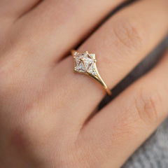 Star engagement ring with Five Triangle Cut Diamonds