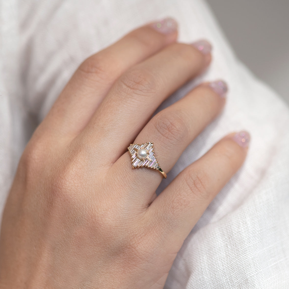 Star Diamond Engagement Ring with White Pearl New shot