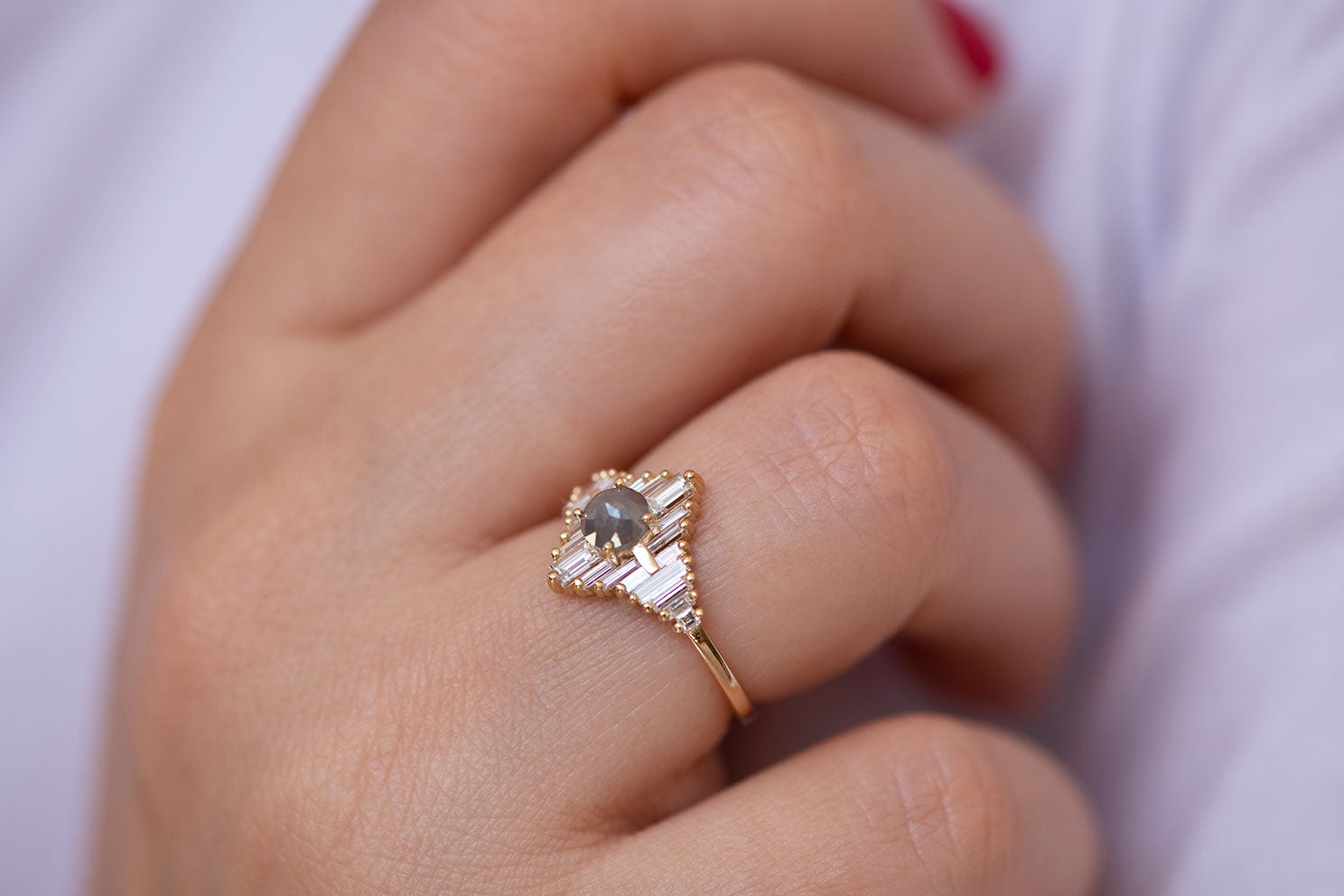 Star Engagement Ring with Baguette and Rose Cut Diamonds on Hand side view up close