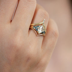 Starburst-Rose-Cut-Diamond-Engagement-Ring-with-Teal-Sapphire-Trillions-side-shot-in-set