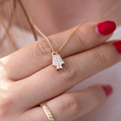Tapered Diamond Bell Necklace - OOAK on hand up close detail