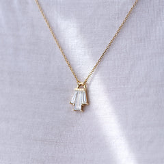 Tapered Diamond Bell Necklace - OOAK on body up close in light