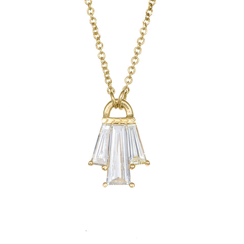 Tapered Diamond Bell Necklace - OOAK