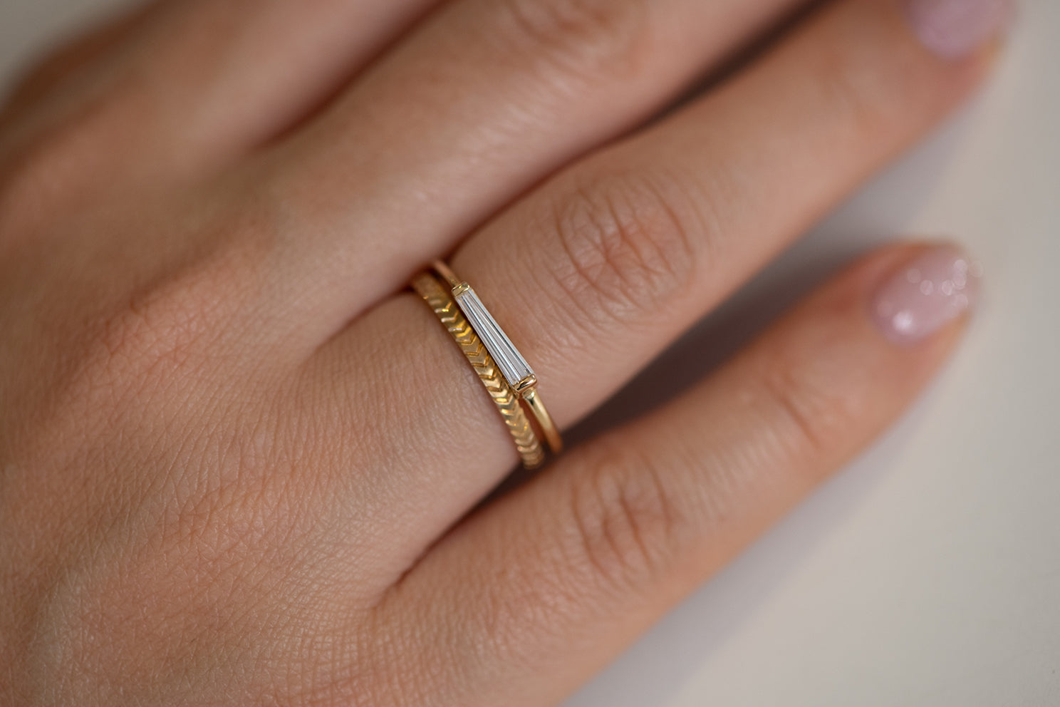 Tapered Baguette Diamond Ring - OOAK in Set on Hand