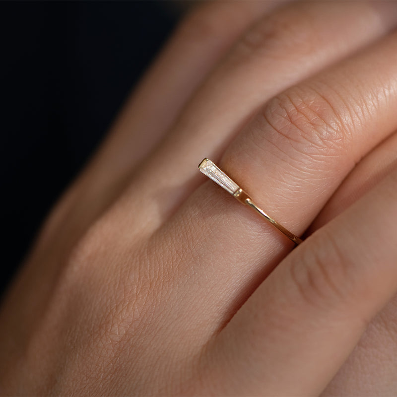 Tapered Baguette Diamond Ring - OOAK Up Close on Hand Side View