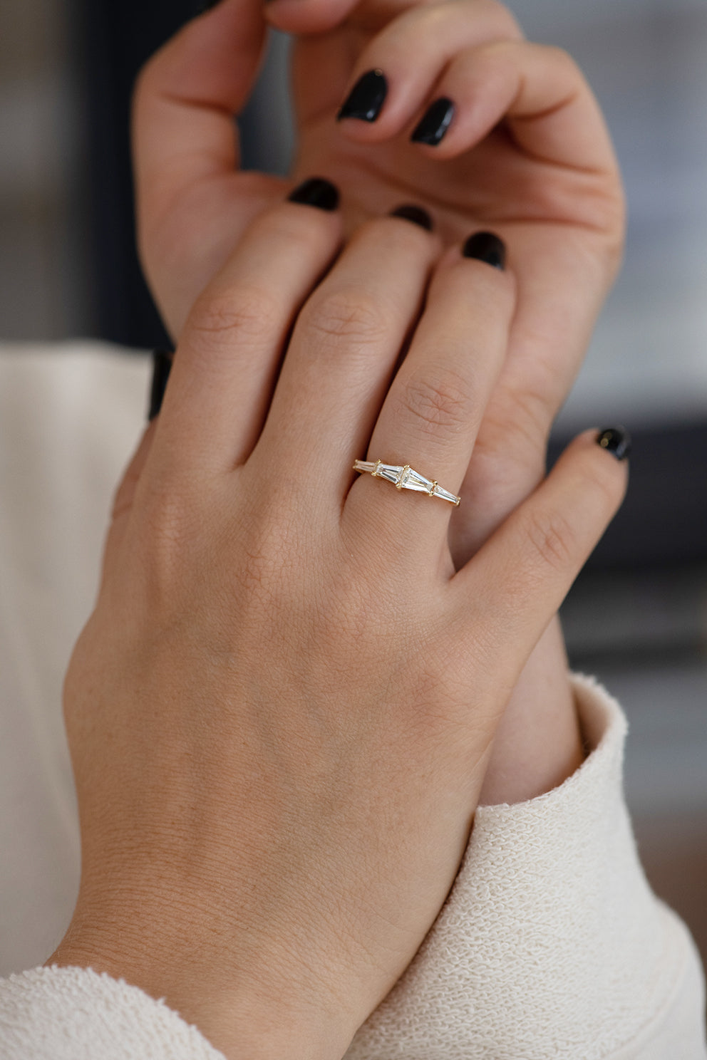 Tapered Baguette Engagement Ring on Hands