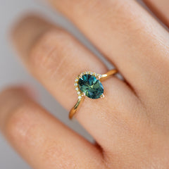 Teal Sapphire Engagement Ring - OOAK on Hand Close Shot Detail Shot