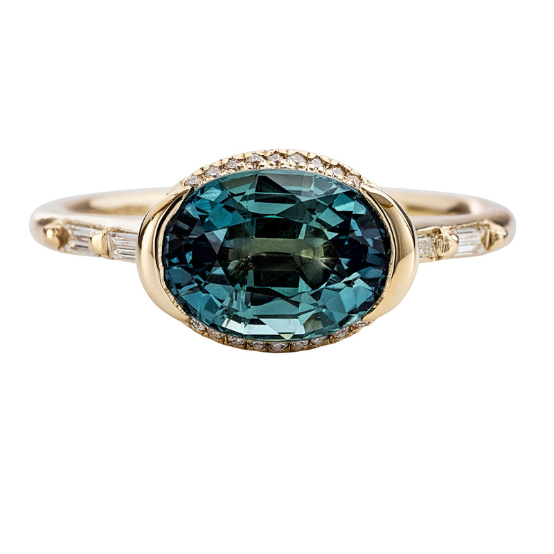 Teal-Sapphire-Engagement-Ring-with-Delicate-Diamond-Detailing-OOAK-closeup