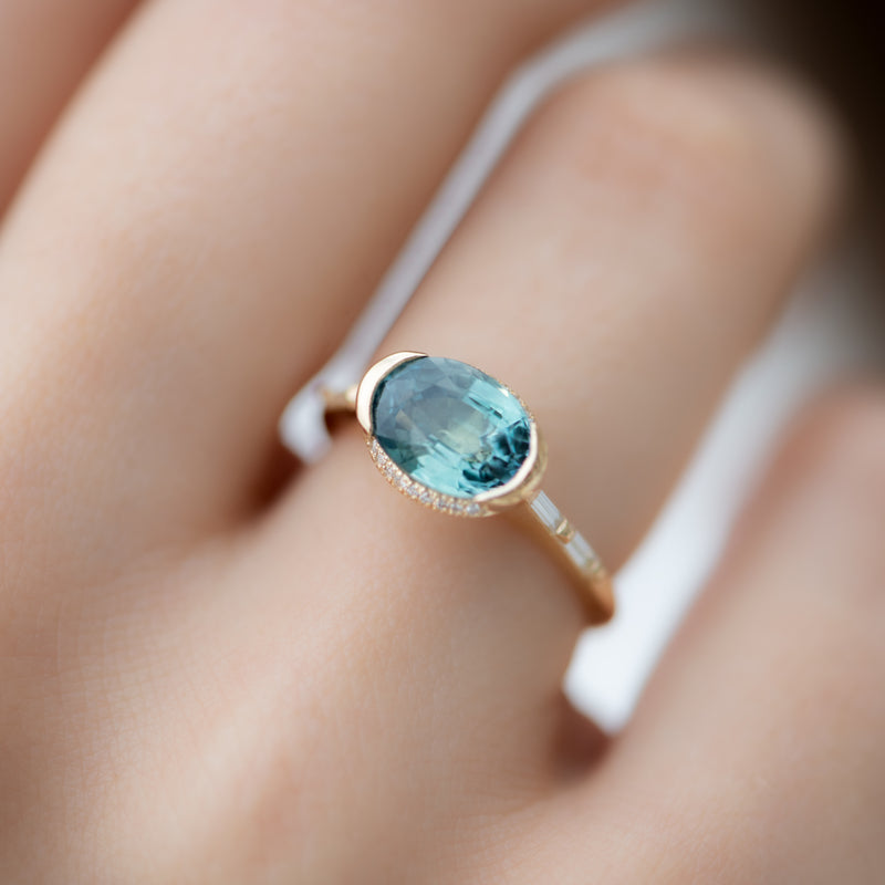 Teal-Sapphire-Engagement-Ring-with-Delicate-Diamond-Detailing-OOAK-side-shot