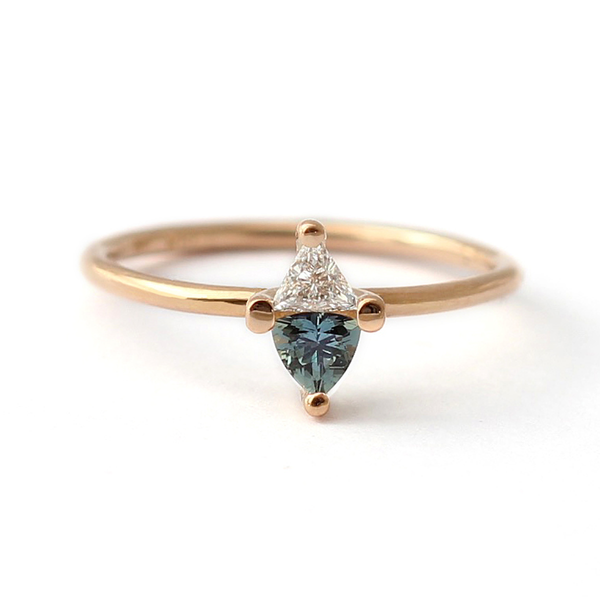 Rose Gold Engagement Ring With Teal Trillion Cut Sapphire
