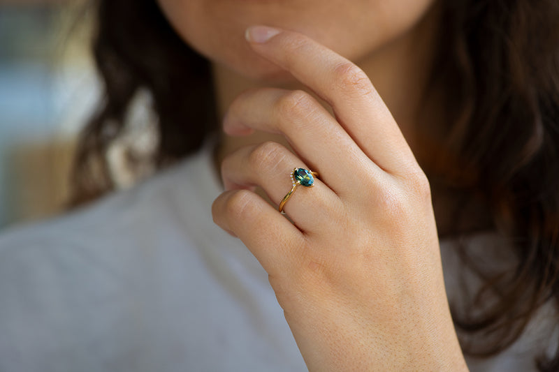 Teal Sapphire Engagement Ring - OOAK on Hand Lower Angle