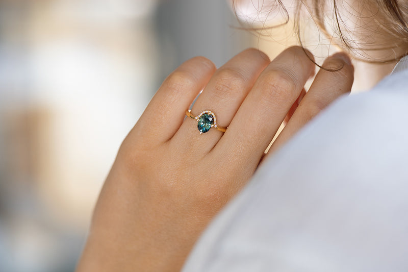 Teal Sapphire Engagement Ring - OOAK on Hand Over Shoulder Other Angle